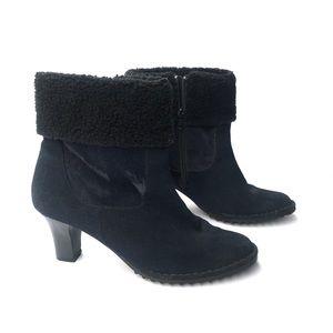 AJ Valenci Navy Suede Faux Fur Ankle Boots Sz 8.5